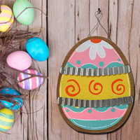 Easter Party Supplies Giant Large Easter Egg Shaped Hanging Plaque Sign Shabby Chic Vintage Home Decor Wooden Craft Ornaments