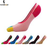 5 pairs/lot Cotton invisible Five finger socks women girl Contrast Color Sock Slippers cool Toe Socks breathable seamless socks