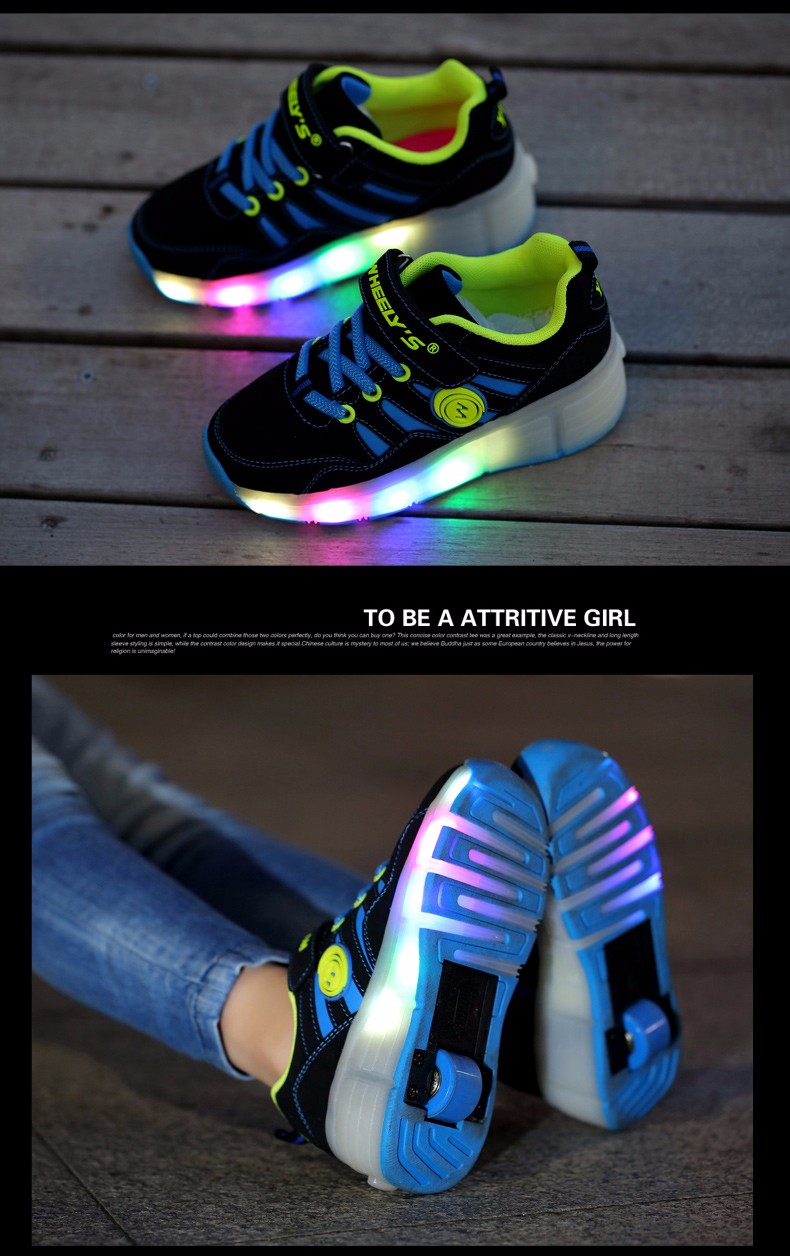 High Quality Cheap Boys LED Sneakers With Wheels Kids Light Up Shoes Girls Roller Skates tenis de rodinha5