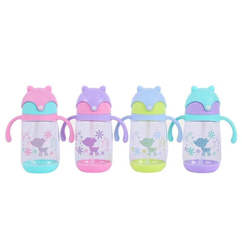Kids Cartoon Water Bottles Straw Bottle Children Kettle Portable Bottle Drinking Water Straw Bottle Drinking Cup 300ML