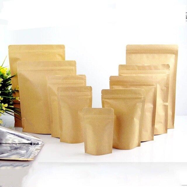 100 Pcs Saco de Papel Kraft Stand up Pouch Zipper Café de Alta Barreira, zip Lock Embalagem De Cozimento Do Bolinho Sacos De Papel do Presente do Alimento