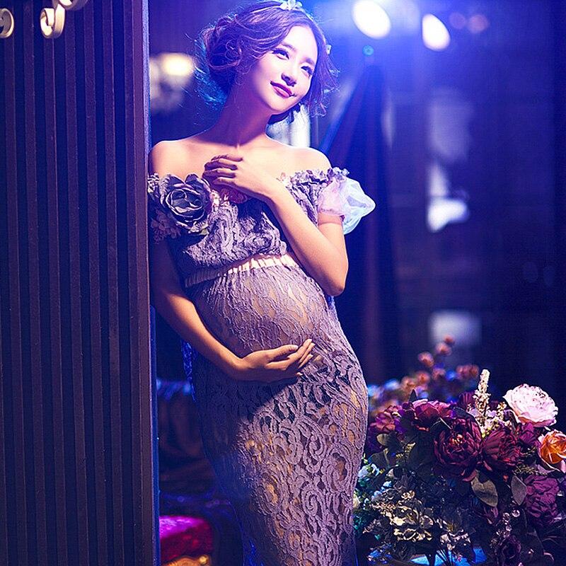47daed36b Sexy Maternity Pregnancy Photo Shoot Beach Dress White chiffon Long Dress  Pregnant pregnancy dress Props Fancy