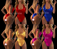 Sexy PVC glisten Metallic Faux Leather Catsuit Sleepwear Lingerie Babydoll BODYSUIT dress Pole dancing Catsuit Nightwear 6667
