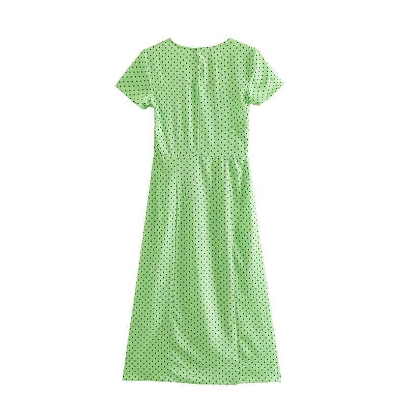 JuneLove женское клетчатое платье-комбинация с коротким рукавом, винтажное платье в горошек с принтом, женское сексуальное сплит-миди Повседневное платье-футляр, женское облегающее платье