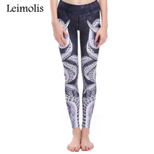 Leimolis 3D print gothic dark octopus winter warm Harajuku High Waist workout push up plus size fitness leggings women pants