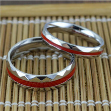 2016  red & silver Wavy fashion cool couple rings Titanium Steel Finger Rings suitable for party Wedding Engagement Rings