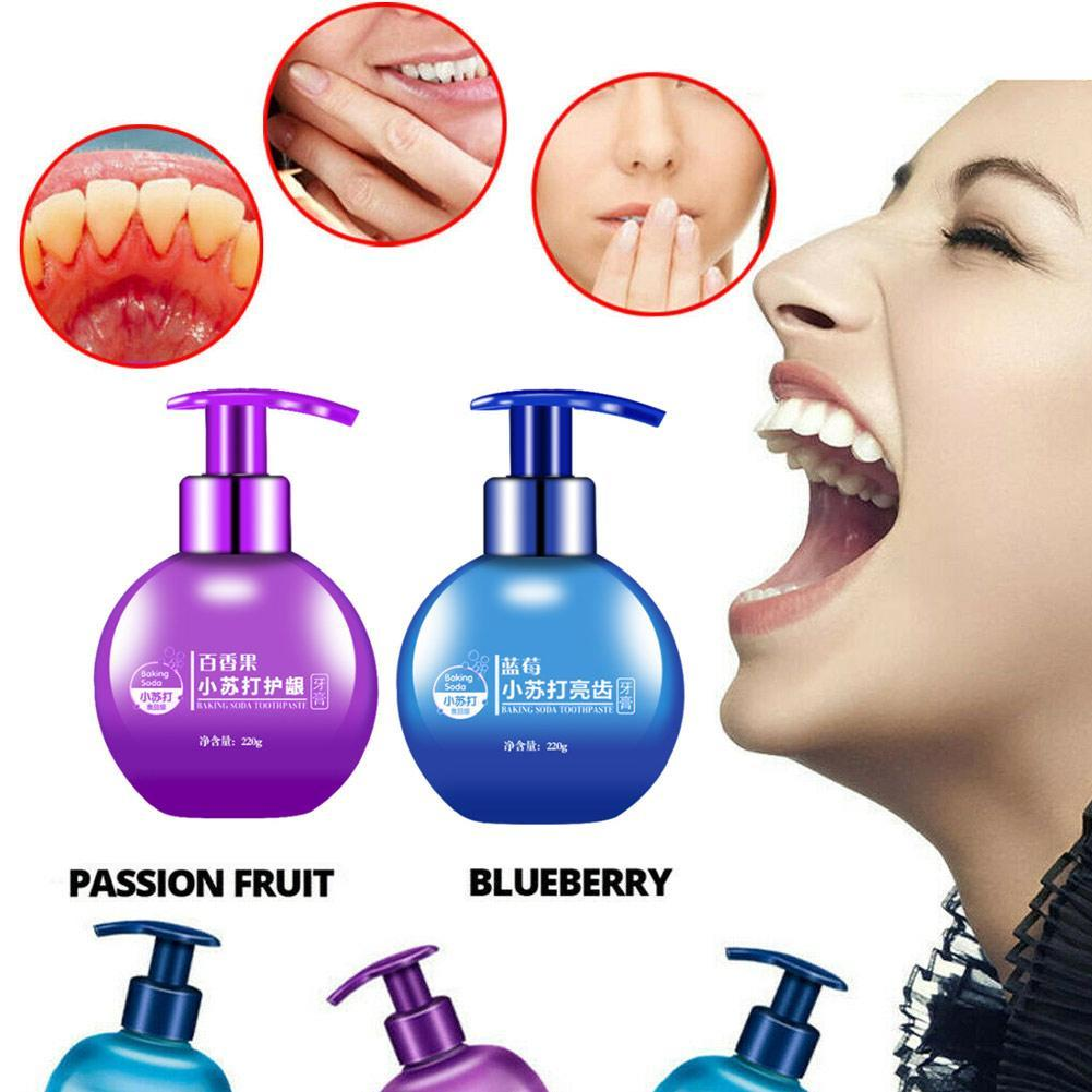 220g Passion Fruit Blueberry Toothpaste Stain Removal Whitening Baking Soda Toothpaste Fight Bleeding Gums Toothpaste Drop Ship