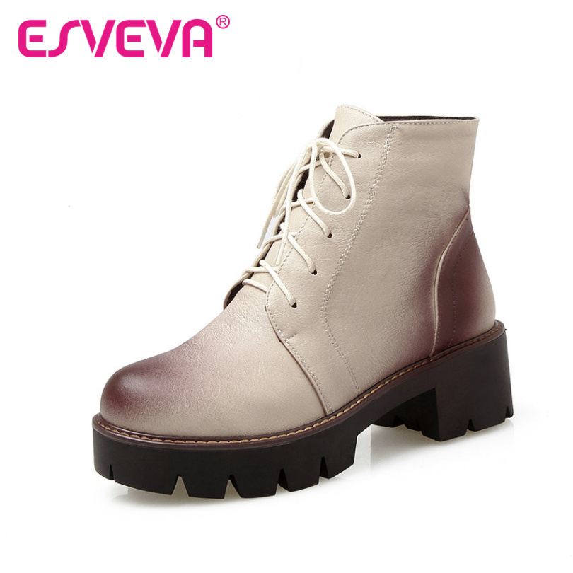 ФОТО ESVEVA 2016 PU Punk Autumn Boots Lace Up British Style Women Shoes Square High Heel Ankle Boots Women Fashion Boots Size 34-43