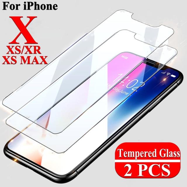 2 piezas película para iPhone XS MAX XR 8X8 7 6 6 S Plus 5 5S 4S SE templado protector de pantalla de vidrio para iPhone 5,8 6,1 6,5 pulgadas 2019 funda