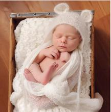 Newborn mohair ear bear bonnet white color 0-3 month newborn hat baby handmade knit soft mohair bonnet newborn photography props