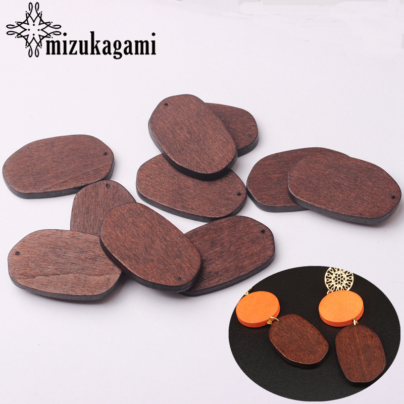 Natural Wooden Geometric Oval Shape Charms Pendant 24*39MM 6pcs/lot For DIY Fashion Earrings Making Accessories