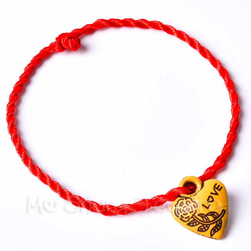 Moda Şeftali Ahşap kırmızı halat Zincir El Yapımı 12 Stilleri kırmızı halat Şanslı Bilezik Kadın Erkek Hediye Için Sevgilisi Için Çift Hediye