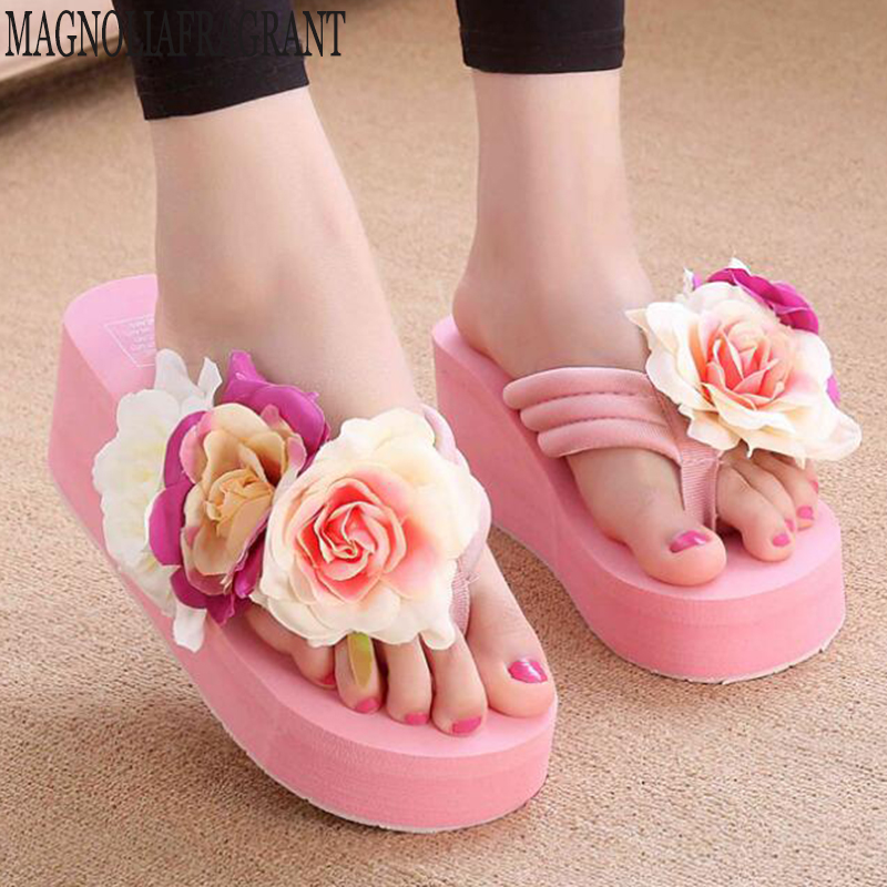 Summer Woman Shoes Platform bath slippers Wedge Beach Flip Flops High Heel Slippers For Women Handmade flowers Ladies Shoes c549Summer Woman Shoes Platform bath slippers Wedge Beach Flip Flops High Heel Slippers For Women Handmade flowers Ladies Shoes c549