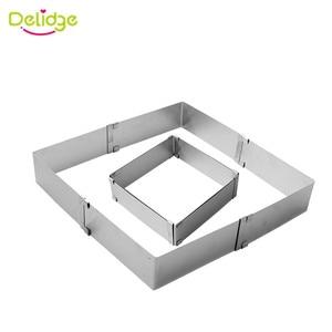 Image 5 - Delidge 2 sztuk/zestaw ze stali nierdzewnej regulowane ciasto z musem pierścień 3D okrągła i kwadratowa forma do ciasta ciasto foremki na ciastka