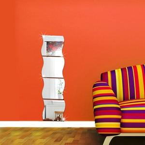 Image 3 - Confezione da 1 X 3D Onda Moderno Specchio Autoadesivo Della Parete Della Stanza Del Vinile di Arte Murale Della Decorazione Della Decalcomania Autoadesivo Della Parete vinilos decorativos para paredes