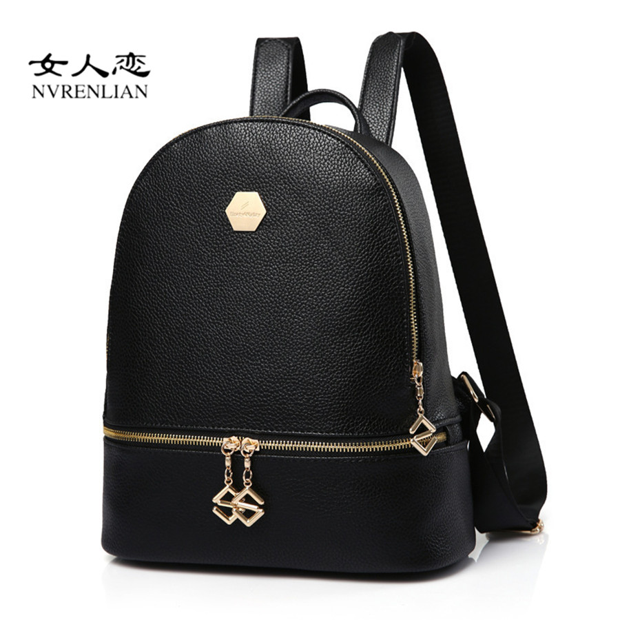 Women Backpacks Fashion PU Leather Shoulder Bag Vintage Backpack Casual Female School Bags for Teenage Girl