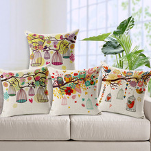 Decorative Sofa Couch Throw Cushion Cover Pastoral Birds Flowers Owl Bird Cage Tree Pillow Case Linen Cotton Pillows Covers