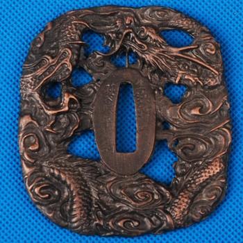 Delicate Dragon Carved Alloy Tsuba Fitting for Japanese Sword Samurai Katana or Wakizashi Nice Metal Craft Sword Accessory HJ182