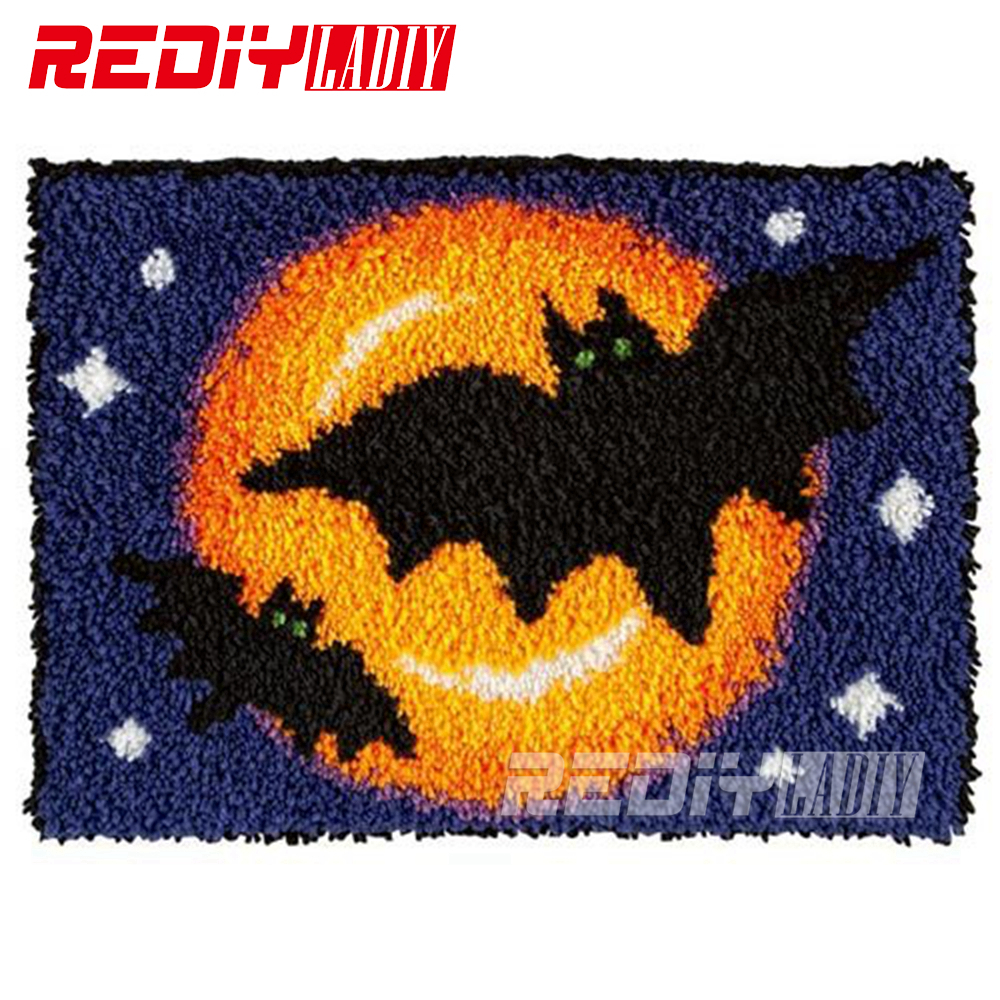 Latch Hook Rug Kits Unfinished Crocheting Tapestry Yarn Needlework Cushion Sets For Embroidery Carpet Bat With Moonnight Mat In From Home