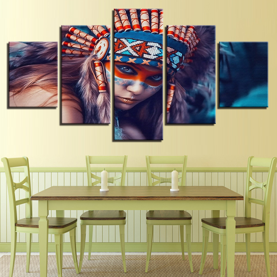 Modern Framework Decoration 5 Panel Indians Girl Art Canvas Painting Style Wall Modular Pictures For Living Room Artwork