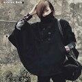 Мужская Яппи Водолазка Batwing Шерстяной Плащ Пальто Мода Новый Ветрозащитный Черный Пончо Зимнее Пальто