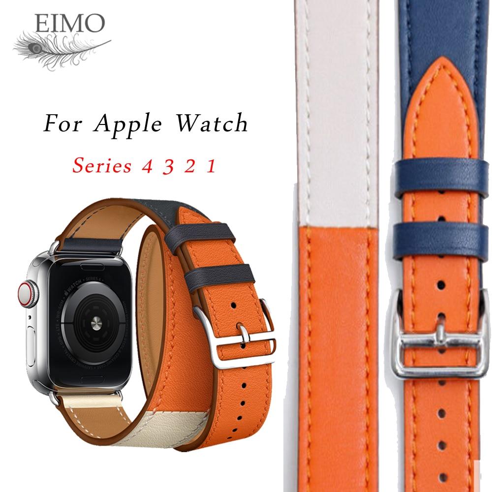 Correa de cuero para apple watch banda 4 44mm 40mm Hermes Tour doble correa 42mm 38mm correa de reloj iwatch serie 4 3 2 1 de la correa de muñeca