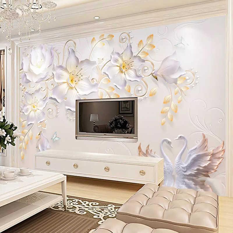 Personnalisé peintures murales papier peint moderne 3D stéréo en relief rose fleurs mur tissu salon TV canapé décor à la maison 3D fresque revêtement mural