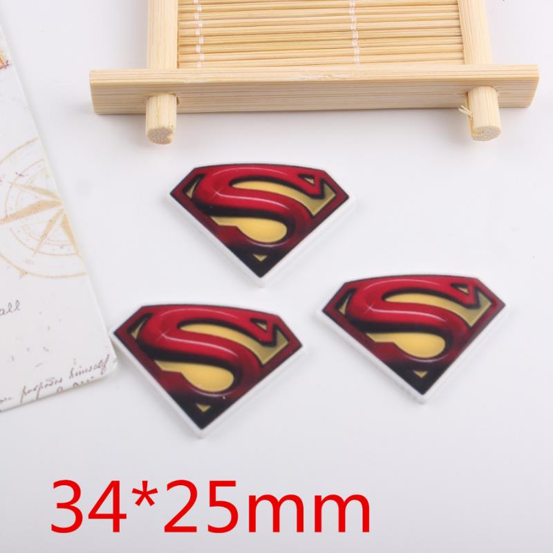 10 Pcs/lot Cool Cartoon DIY Resin Patch Superman Figurine Crafts Toy Hair Storage Box Accessories Kids Craft Toys Gift