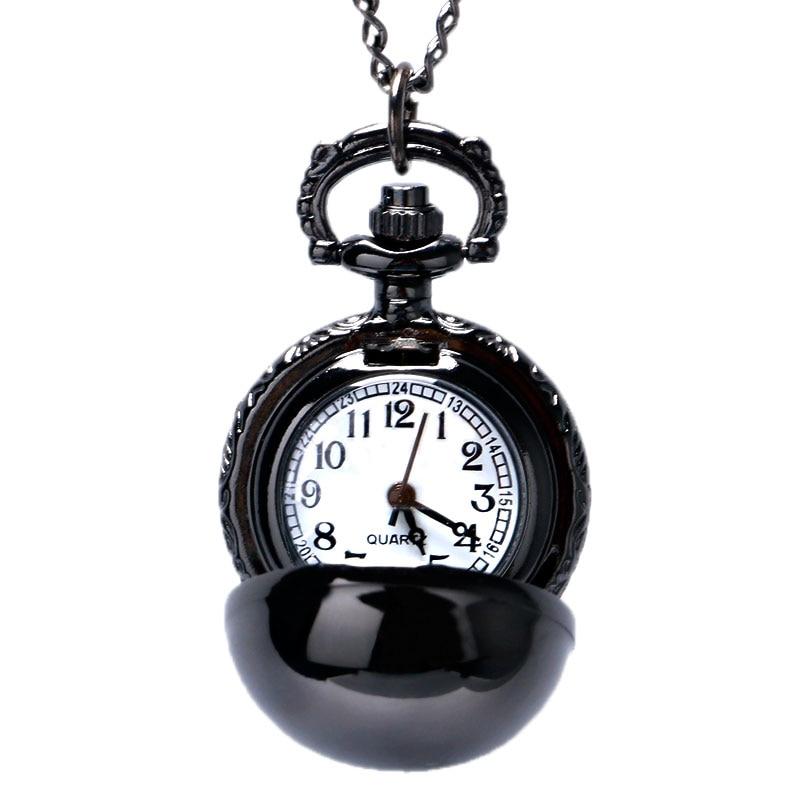 Charm Dark Black Smooth Ball Shaped Quartz Pocket Watch Necklace Pendant Chain Men Womens Lady Birthday Gift Reloj De Bolsillo