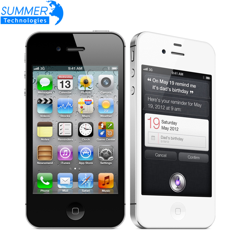 Original Unlocked Apple iphone 4S Cell phones 3 5 Retina IPS 16GB ROM Mobile Phone 8MP