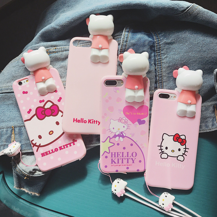 For iphone X 3D Cute hello kitty Case For iPhone 7 7plus Soft Silicon For iPhone 8 8plus 6plus 6s 6splus Pink KT Girl Cover