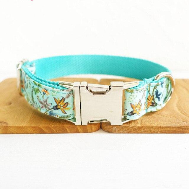 937da2ad299a Perro personalizado collar de identificación Correa flor floral nylon puppy  pet collares de plomo con correa