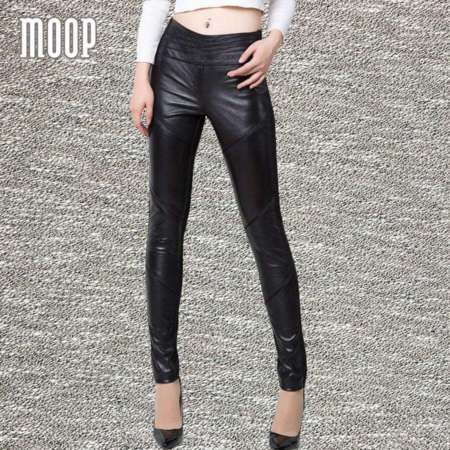 Черный Натуральная кожа Штаны 100% кожа ягненка с узкие брюки стрейч брюки pantalon femme mujer LT801 Бесплатная доставка