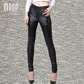 Черный подлинная кожаные штаны 100% овчины сращены карандаш брюки стрейч брюки pantalon femme pantalones mujer LT801 Свободный корабль
