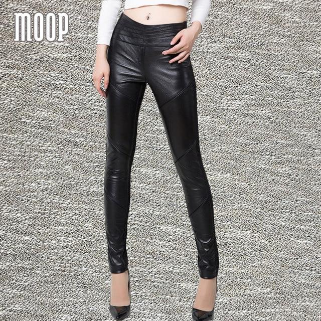 4b13c2af1e Negro cuero genuino 100% pantalones de piel de cordero empalmado lápiz pantalones  pantalon mujer pantalones