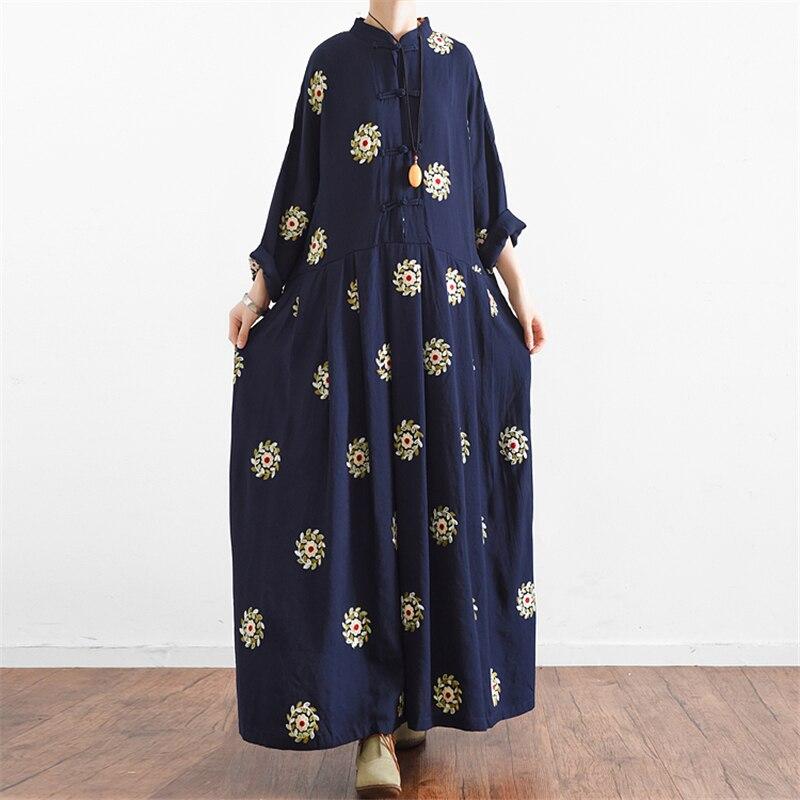 Nouveau japonais Mori fille robes broderie florale manches longues Robe Kawaii Lolita doux bleu taille haute une ligne Vintage Maxi Robe