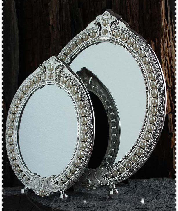 2pcs/set vintage desktop makeup cosmetic mirror embossed jewelry pearl-inlayed decorative silver metal frame table decoration