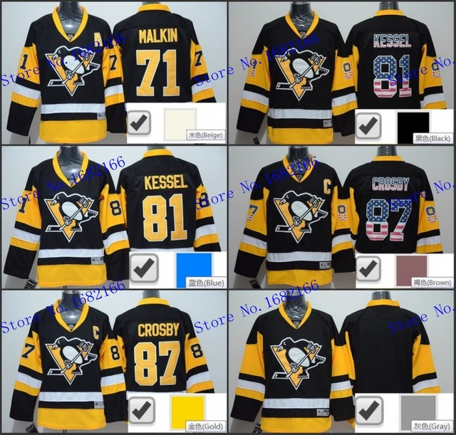 5e7702b69 Pittsburgh Penguins  81 Phil Kessel Jersey Black Gold Authentic Stitched  Fashion Stars Name Number Men Ice Hockey Jerseys Shirt