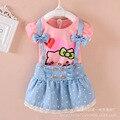Детская одежда новой Корейской девушки летние футболки + юбка два набора кусок установлены девочка одежда