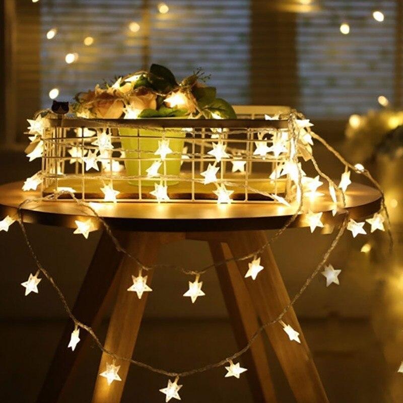 Luzes led de 1m/3m/6m/10m, guirlanda, estrelas, iluminação de natal decoração para festa de casamento, luz do ano novo