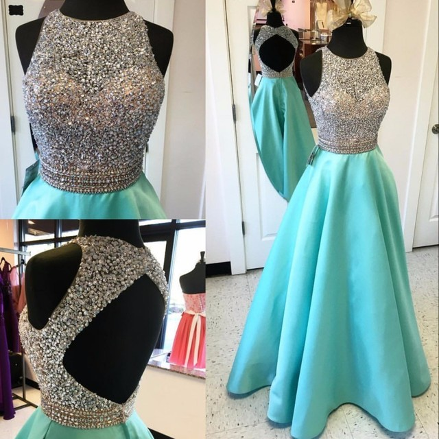 Sexy A-Line Prom Dress Long 2019 Crystal Beaded Top Backless vestido de noiva Formal Evening Gown Party Pageant Dresses