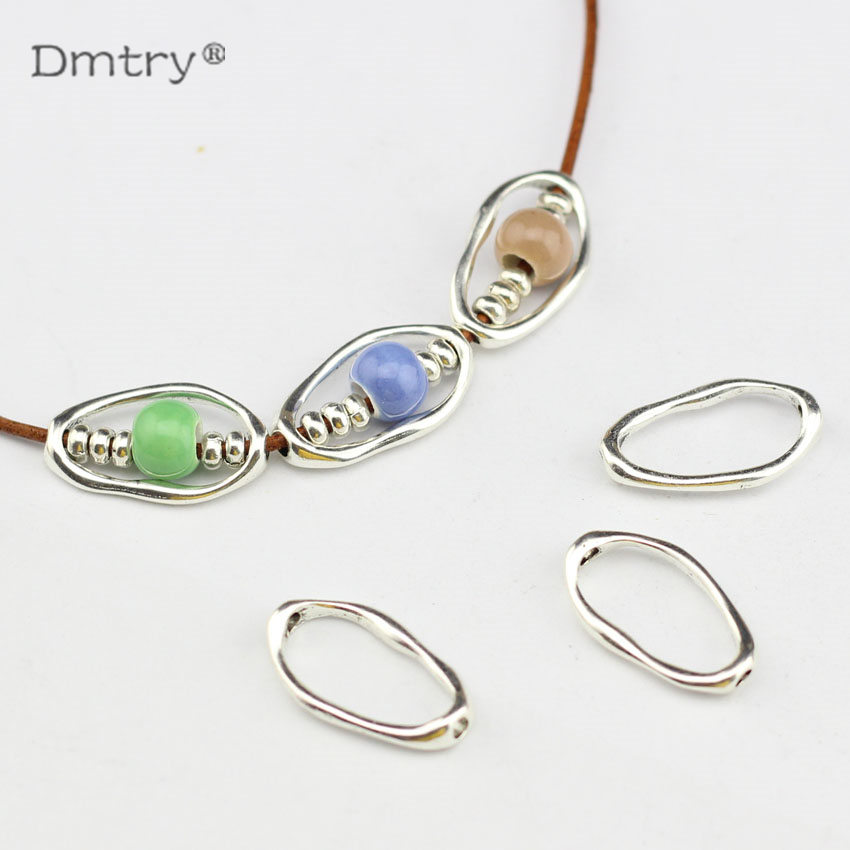 Dmtry 10pcs Spacer For Use With 1.5MM Round Leather Ancient Silver Jewelry Findings For DIY Handmade Necklace Charms  LC0109