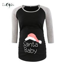 a3b27184c7cd6 Santa Baby Funny Pregnancy Tee Shirts Bumps First Christmas Holiday Party Tee  Shirt Raglan Sleeve Maternity Clothes Blouse