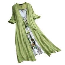 Весна Лето женское длинное льняное платье размера плюс из двух частей с О-образным вырезом Макси платья свободные богемные платья для женщин