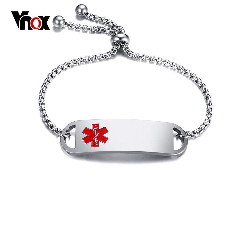 Vnox Frauen Medical Alert Armbänder Frei Gravieren Namen Aussage ID Edelstahl Armbänder Armreifen Länge Verstellbar