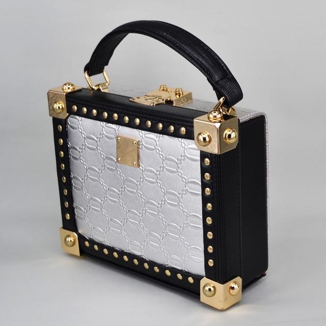 Fashion Golden Women Handbag Brand Designer Rivet Shoulder Bag Pu Ladies Vintage Magic Box Evening Bag lock Mini tote bags z910