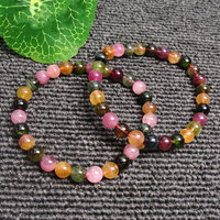 6mm/8mm Natural Round Pink Yellow Green Tourmaline Beads Bracelets For Women & Girl Gift Trinket Jewelry Beaded Accessories