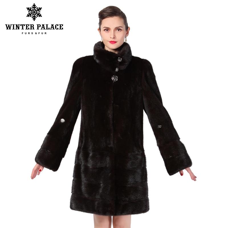 Nouveau style de mode manteau de fourrure, Cuir Véritable, Col Mandarin, bonne qualité de fourrure de vison manteau, femmes naturel noir manteaux de fourrure