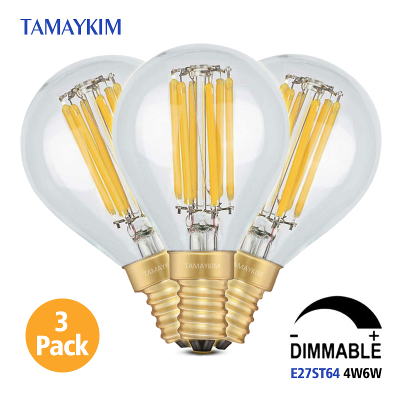 Dimmable E14 G45 LED Vintage Filament Light Lamp,4W 6W 220V-240V,Clear Glass Retro Edison Bulb,Cold White Warm White,3 Pack retro lamp st64 vintage led edison e27 led bulb lamp 110 v 220 v 4 w filament glass lamp