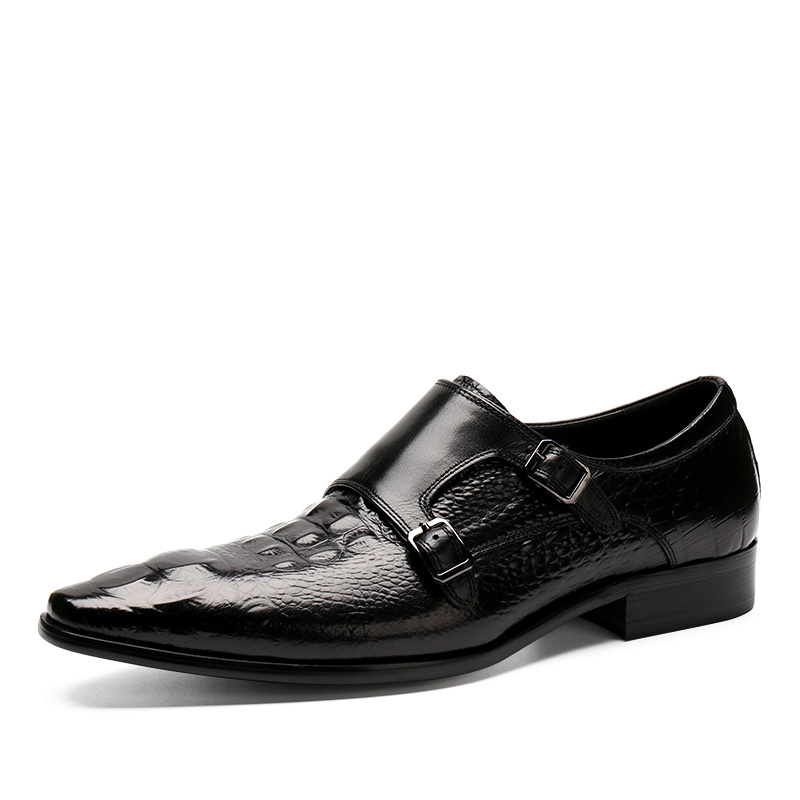 ФОТО New Fashion Brand Men High Quality Comfortable Crocodile Pattern Genuine Leather Slip-On Pointed Toe Flats Oxfords  Men Shoes
